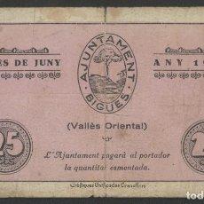 Billetes locales: J.B. BILLETE DE BIGUES , 25 CÉNTIMOS , ED.333A , T.438. Lote 222868557