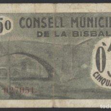 Billetes locales: J.B. BILLETE DE LA BISBAL , 50 CÉNTIMOS , ED.338B , T.448. Lote 222868821