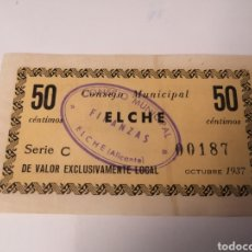 Billetes locales: ELCHE. ALICANTE. CONSEJO MUNICIPAL. 50 CÉNTIMOS. Lote 223248152