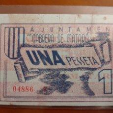 Billetes locales: BILLETE LOCAL 1 PESETA 1937 CABRERA DE MATARÓ GUERRA CIVIL. Lote 223312280