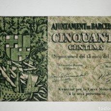 Billetes locales: B-62 BILLETE LOCAL 50 CÉNTIMOS 1937 AYUNTAMIENTO BARCELONA. MBC-. Lote 224400743