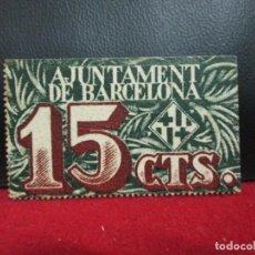 Billetes locales: 15 CENTIMOS 1939 AJUNTAMENT DE BARCELONA SIN CIRCULAR. Lote 226614866