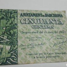 Billetes locales: BILLETE CINQUANTA CENTIMS AJUNT BARCELONA 1937. Lote 226622555