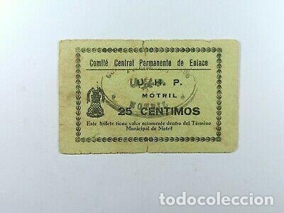 ESCASO BILLETE MOTRIL 25 CENTIMOS 1937 GUERRA CIVIL. (Numismática - Notafilia - Billetes Locales)
