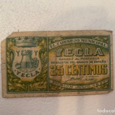 Billetes locales: BILLETE LOCAL 25 CTS YECLA 1937. Lote 230078565