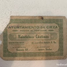 Billetes locales: BILLETE LOCAL 25 CTS CIEZA 1937. Lote 230080190