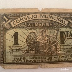 Billetes locales: BILLETE LOCAL 1 PTA ALMANSA 1937. Lote 230080695