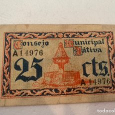 Billetes locales: BILLETE LOCAL 25 CTS JATIVA 1937. Lote 230081540
