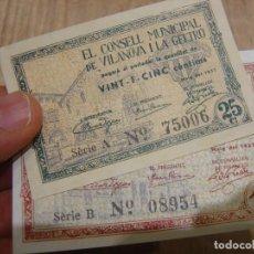 Billetes locales: BILLETES LOCALES 1937:1 PESSETA / 25 CÈNTIMS CONSELL MUNICIPAL DE VILANOVA I LA GELTRÚ SIN CIRCULAR. Lote 230410165