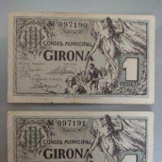 Billetes locales: PAREJA CORRELATIVA BILLETE LOCAL 1 PESETA GIRONA 1937 SELLO EN SECO. Lote 232486965