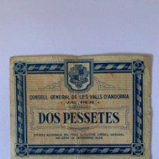 Billetes locales: 2 PESETAS 1936 ANDORRA MUY RARO SERIE 02047. Lote 232976715