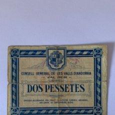 Billetes locales: 2 PESETAS 1936 ANDORRA MUY RARO SERIE 02468. Lote 232978063
