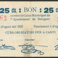 Billetes locales: BALAGUER (LERIDA). 25 CÉNTIMOS. 5 DE AGOSTO DE 1937. - VER FOTOS. Lote 233142975