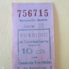Billetes locales: BILLETE 10 CENTIMOS SUBSIDIO AL COMBATIENTE BARCELONA GUERRA CIVIL VALE. Lote 233241205