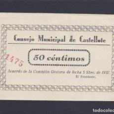 Billetes locales: CASTELLOTE (TERUEL) 50 CENTIMOS - SIN CIRCULAR. Lote 233523865