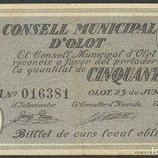 Billetes locales: OLOT (GERONA). 50 CÉNTIMOS. 23 DE JUNIO DE 1937. SERIE A. Lote 233526240