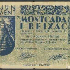 Billetes locales: MONTCADA I REIXAC (BARCELONA). 50 CÉNTIMOS. MAYO 1937.. Lote 233526350