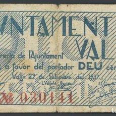 Billetes locales: VALLS (TARRAGONA). 10 CÉNTIMOS. 29 DE SEPTIEMBRE DE 1937. Lote 233526520