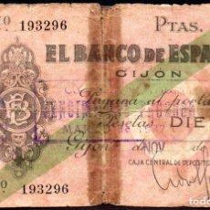 Billetes locales: GIJON 10 PESETAS 1936 - PEGADO EPOCA. Lote 103945731