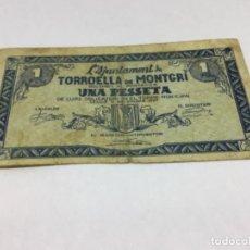 Billetes locales: BILLETE LOCAL - AJUNTAMENT TORROELLA DE MONTGRI UNA PESETA - ORIGINAL. Lote 233890380