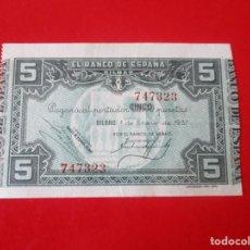 Billetes locales: BANCO DE ESPAÑA. BILBAO.BILLETE DE 5 PTS 1937. Lote 234455970
