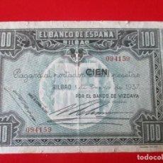 Billetes locales: BANCO DE ESPAÑA. BILBAO.BILLETE DE 100 PTS 1937. Lote 234456405