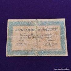 Billetes locales: BILLETE LOCAL ORIGINAL DE EPOCA. ESPLUGUES (BARCELONA). 50 CENTIMOS. GUERRA CIVIL.. Lote 234877675