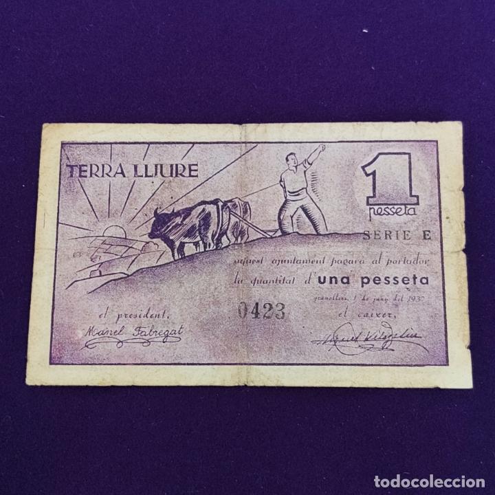 Billetes locales: BILLETE LOCAL ORIGINAL DE EPOCA. GRANOLLERS (BARCELONA). 1 PESETA. GUERRA CIVIL. - Foto 2 - 234878005