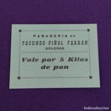 Billetes locales: VALE DE PAN DE SOLETAS (LERIDA). 5 KILOS. GUERRA CIVIL.. Lote 234879375