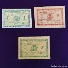 Billetes locales: 3 BILLETES DEL CONSEJO MUNICIPAL DE TOTANA (MURCIA). 25, 50 CTS Y 2 PTAS. GUERRA CIVIL.. Lote 234880335