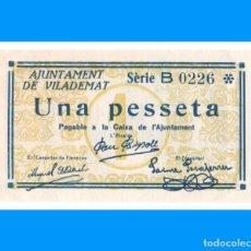 Billetes locales: VILADEMAT (GIRONA) SERIE DE 2 BILLETES 1 PTA Y 25 CTS ESCASO SC. Lote 235146275