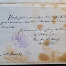 Billetes locales: AJUNTAMENT DE GUIMERA. VALE GUERRA CIVIL. Lote 235513075