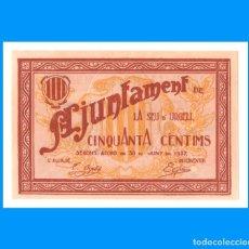 Billetes locales: LA SEU D'URGELL 50 CTS T-2752 6-1937 EBC+. Lote 230910350
