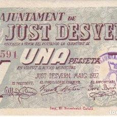 Billetes locales: BILLETE DE 1 PESETA DEL AJUNTAMENT DE JUST DESVERN DEL AÑO 1937. Lote 235643550