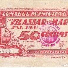 Billetes locales: BILLETE DE 50 CENTIMOS DEL CONSELL MUNICIPAL DE VILASSAR DE MAR DEL AÑO 1937. Lote 235660030