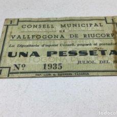 Billetes locales: BILLETE LOCAL - AJUNTAMENT DE VALLFOGONA DE RIUCORP UNA PESSETA - GUERRA CIVIL. Lote 236170880