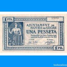 Billetes locales: NOVES DE SEGRE (LLEIDA) SERIE DE 4 BILLETES MUY RAROS RR SC-. Lote 236345285