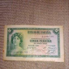 Billetes locales: BILLETE 5 PESETAS AÑO 1935 CERTIFICADO DE PLATA. Lote 236525155