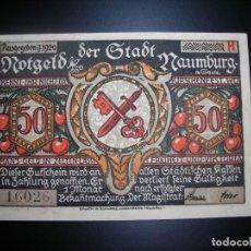 Billetes locales: BONITO BILLETE ALEMAN DE 1920 NOTGELD (DINERO DE EMERGENCIA) DE 50 PFENNIG ORIGINAL (EBC). NAUMBURG.. Lote 236541030