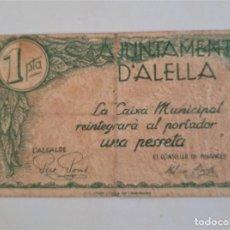 Billetes locales: F 1635 BILLETE AYUNTAMIENTO ALELLA 1 PESETA CON SELLO SECO T-116. Lote 236651905