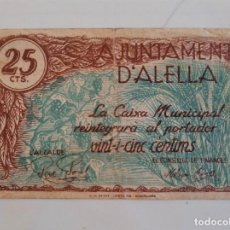 Billetes locales: BILLETE AYUNTAMIENTO ALELLA 25 CENTIMOS CON SELLO SECO T-118. Lote 236652175
