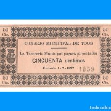 Billetes locales: TOUS (VALENCIA) 50 CTS SC. Lote 231153260