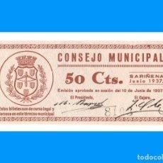 Billetes locales: SARIÑENA (HUESCA) 50 CTS SC. Lote 233380110