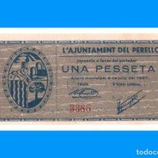 Billetes locales: PERELLÓ (TARRAGONA) SERIE DE 2 BILLETES SC 1 PTA RARO Y 50 CTS ESCASO. Lote 237179540