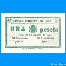 Billetes locales: PULPI (ALMERÍA) 1 PTA EBC+. Lote 233654995