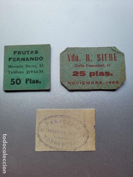 LOTE DE 3 VALES CATALANES DE POSTGUERRA. DOS DE BARCELONA Y UNO DE TORREBESSES-LLEIDA (Numismática - Notafilia - Billetes Locales)