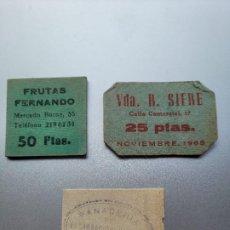 Billetes locales: LOTE DE 3 VALES CATALANES DE POSTGUERRA. DOS DE BARCELONA Y UNO DE TORREBESSES-LLEIDA. Lote 237550450