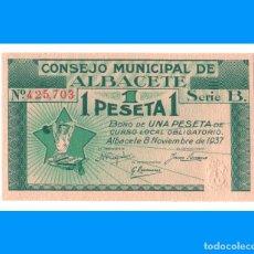 Billetes locales: ALBACETE SERIE DE 3 BILLETES PLANCHA 1 PTA 50 Y 25 CTS. Lote 240174185