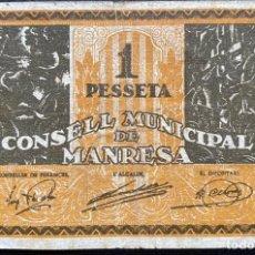 Billetes locales: 1 PESETA CONSELL MUNICIPAL DE MANRESA - SÈRIE B. Lote 240208905