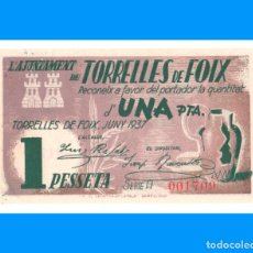Billetes locales: TORRELLES DE FOIX (BARCELONA) SERIE DE 2 BILLETES SC- 1 PTA Y 50 CTS. Lote 241402445